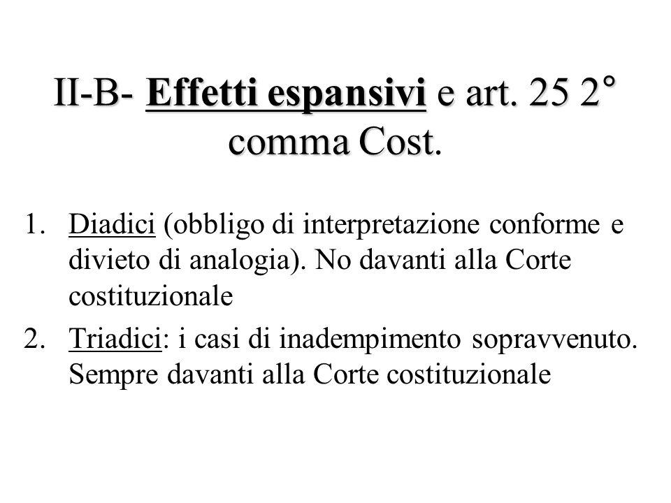 II-B- Effetti espansivi e art. 25 2° comma Cost.