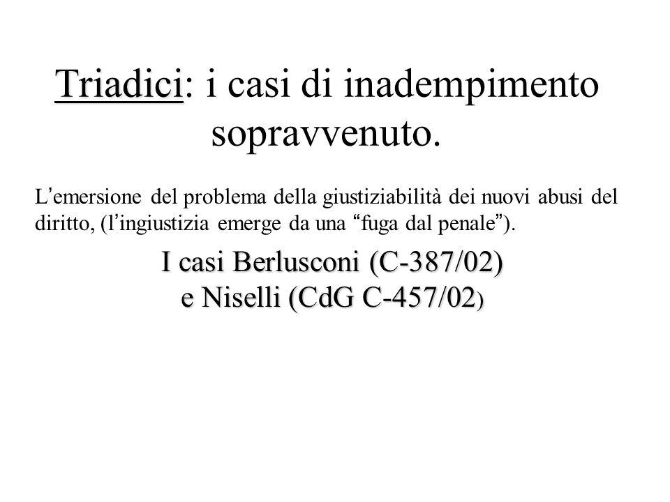 Triadici: i casi di inadempimento sopravvenuto.