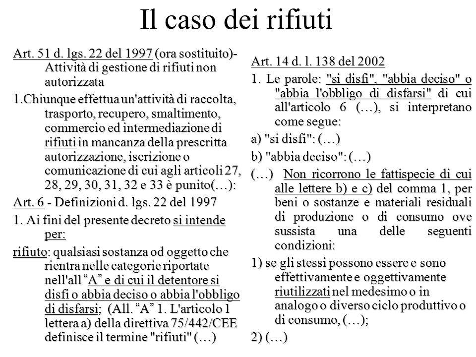 Il caso dei rifiuti Art. 51 d. lgs. 22 del 1997 (ora sostituito)- Attività di gestione di rifiuti non autorizzata.