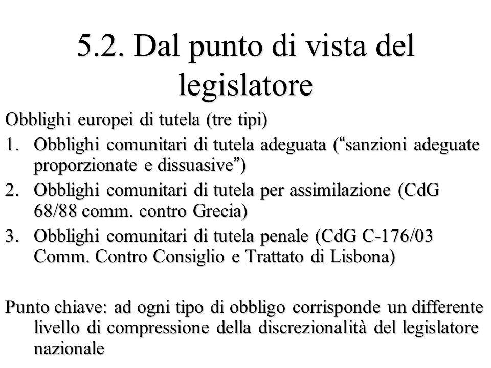 5.2. Dal punto di vista del legislatore