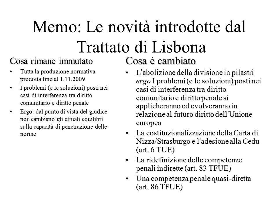 Memo: Le novità introdotte dal Trattato di Lisbona