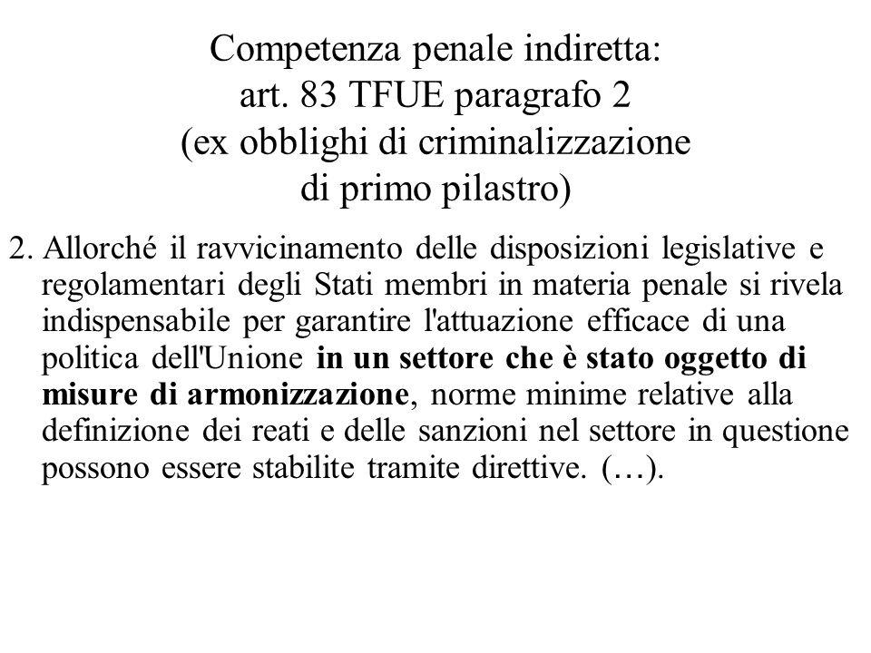 Competenza penale indiretta: art
