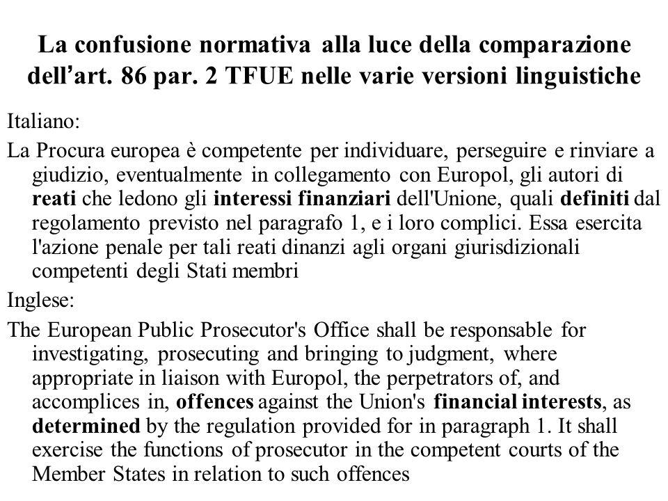 La confusione normativa alla luce della comparazione dell'art. 86 par