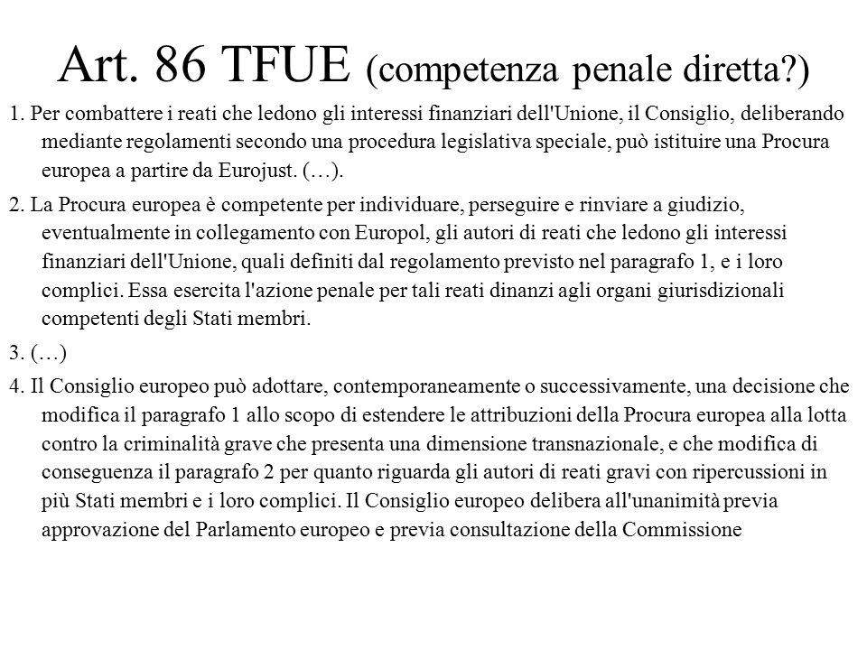 Art. 86 TFUE (competenza penale diretta )