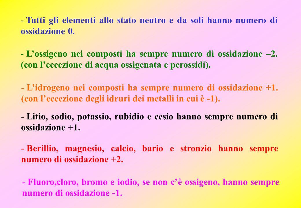 Tutti gli elementi allo stato neutro e da soli hanno numero di ossidazione 0.