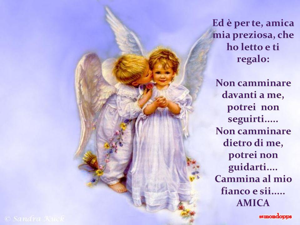 Ed è per te, amica mia preziosa, che ho letto e ti regalo: Non camminare davanti a me, potrei non seguirti.....