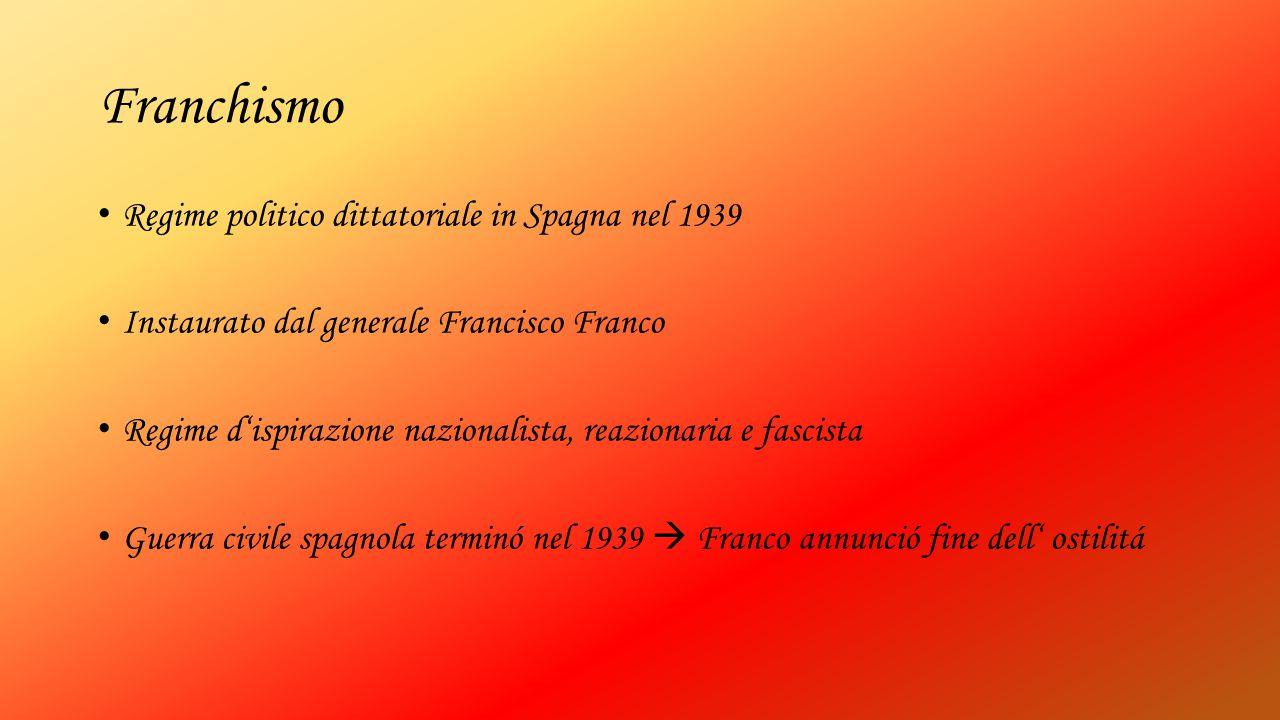 Franchismo Regime politico dittatoriale in Spagna nel 1939