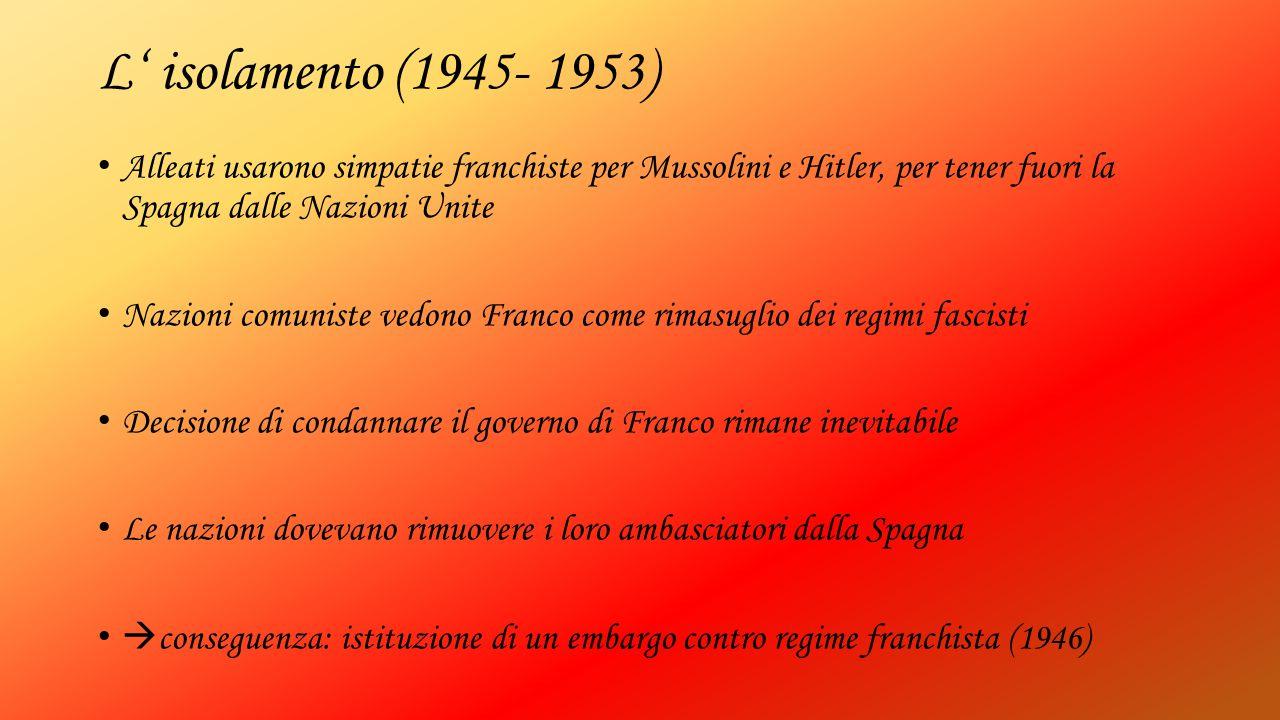 L' isolamento (1945- 1953) Alleati usarono simpatie franchiste per Mussolini e Hitler, per tener fuori la Spagna dalle Nazioni Unite.