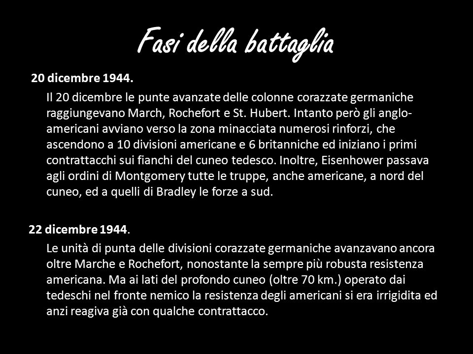 Fasi della battaglia 20 dicembre 1944.