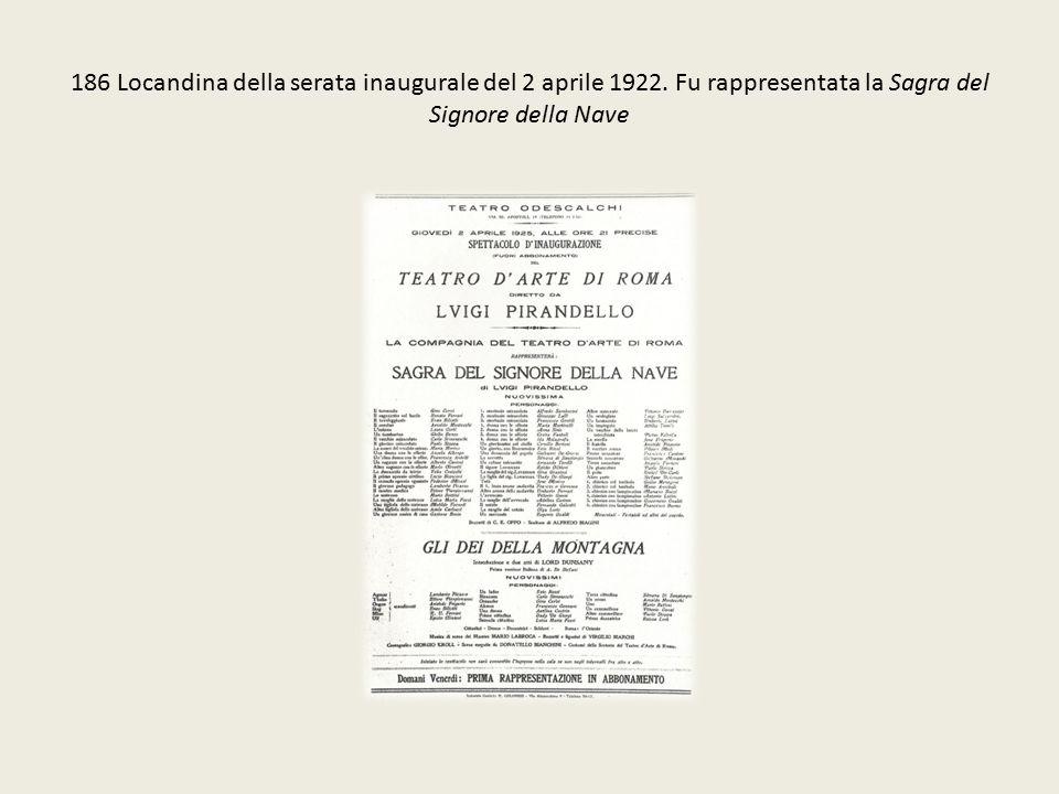 186 Locandina della serata inaugurale del 2 aprile 1922