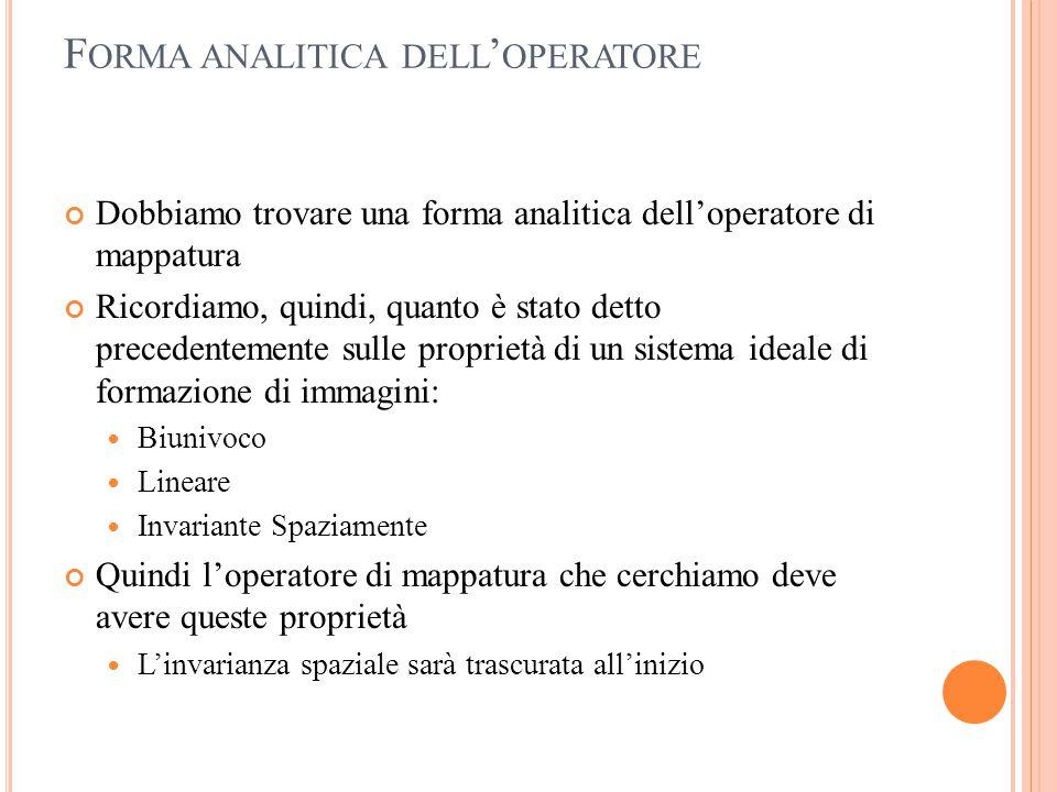 Forma analitica dell'operatore