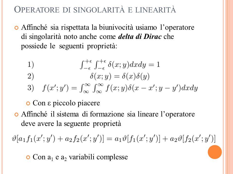 Operatore di singolarità e linearità