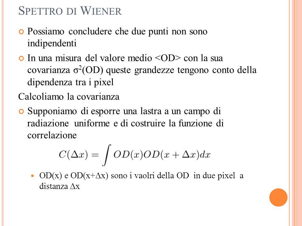 Spettro di Wiener Possiamo concludere che due punti non sono indipendenti.