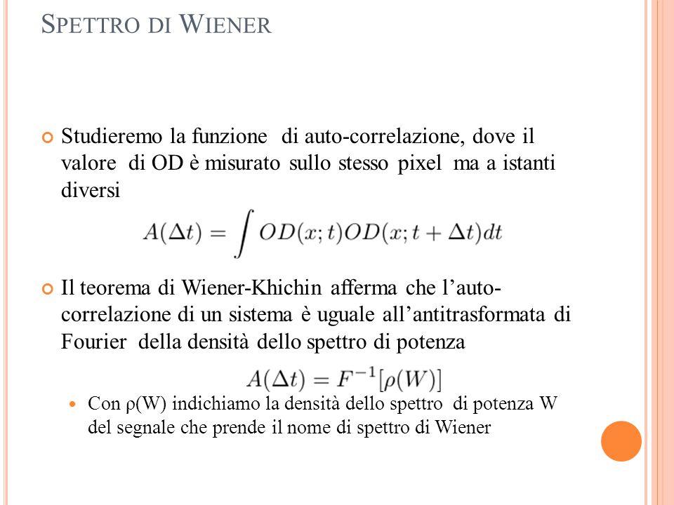 Spettro di Wiener Studieremo la funzione di auto-correlazione, dove il valore di OD è misurato sullo stesso pixel ma a istanti diversi.