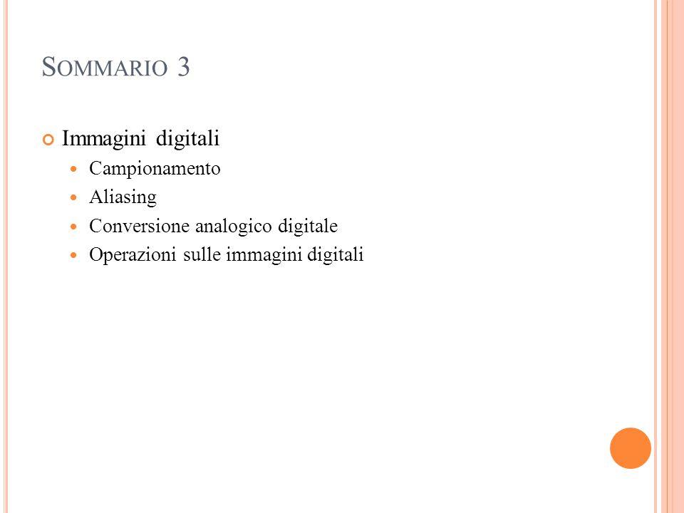 Sommario 3 Immagini digitali Campionamento Aliasing
