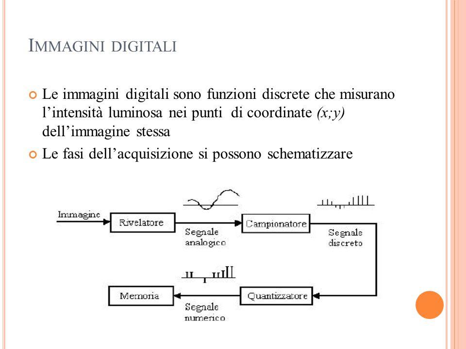 Immagini digitali Le immagini digitali sono funzioni discrete che misurano l'intensità luminosa nei punti di coordinate (x;y) dell'immagine stessa.