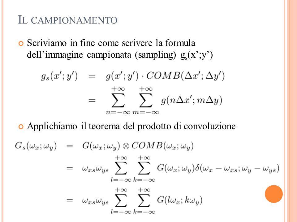 Il campionamento Scriviamo in fine come scrivere la formula dell'immagine campionata (sampling) gs(x';y')