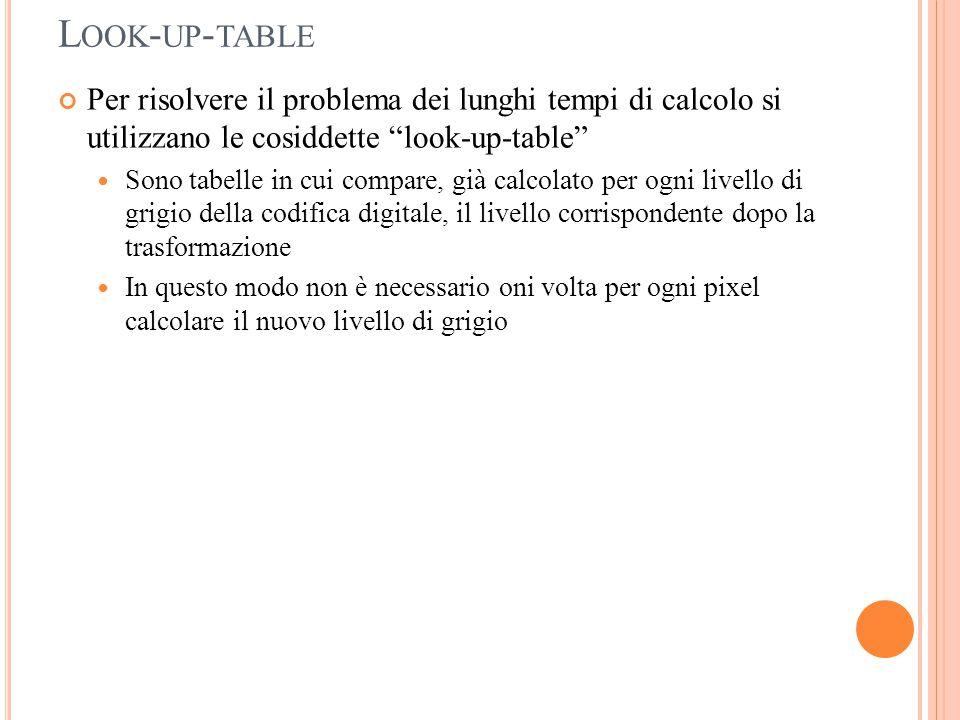 Look-up-table Per risolvere il problema dei lunghi tempi di calcolo si utilizzano le cosiddette look-up-table