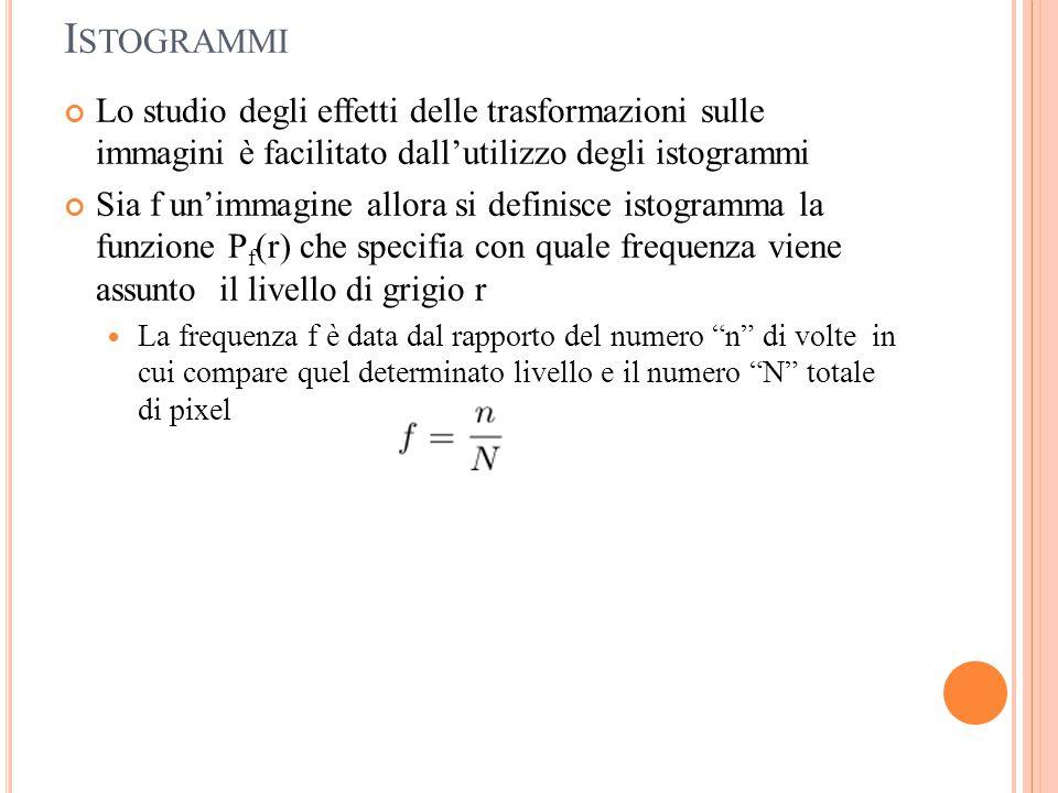 Istogrammi Lo studio degli effetti delle trasformazioni sulle immagini è facilitato dall'utilizzo degli istogrammi.