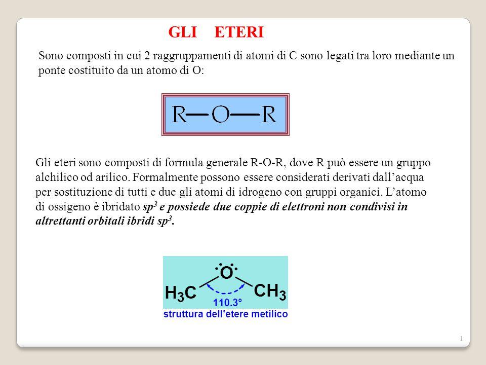 GLI ETERI Sono composti in cui 2 raggruppamenti di atomi di C sono legati tra loro mediante un ponte costituito da un atomo di O: