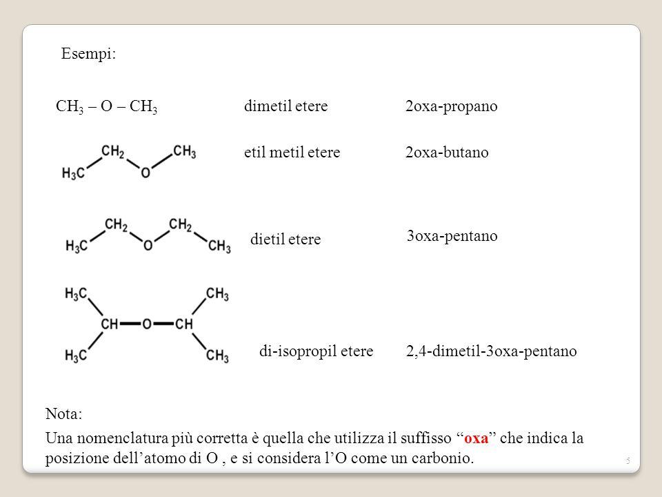 Esempi: CH3 – O – CH3. dimetil etere. 2oxa-propano. etil metil etere. 2oxa-butano. dietil etere.
