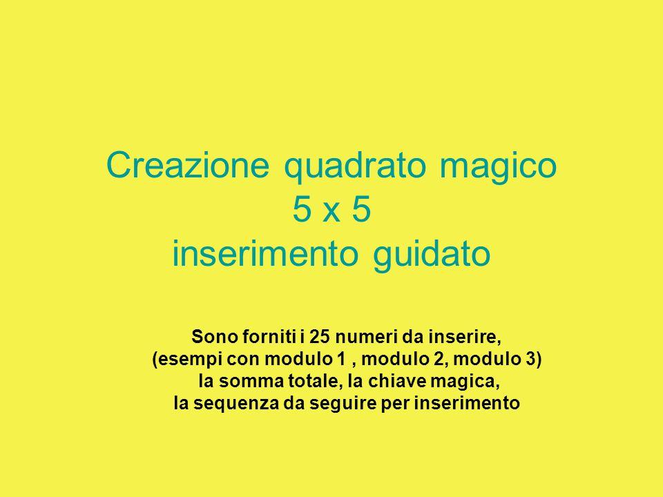 Creazione quadrato magico 5 x 5 inserimento guidato