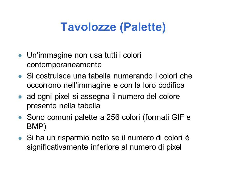 Tavolozze (Palette) Un'immagine non usa tutti i colori contemporaneamente.