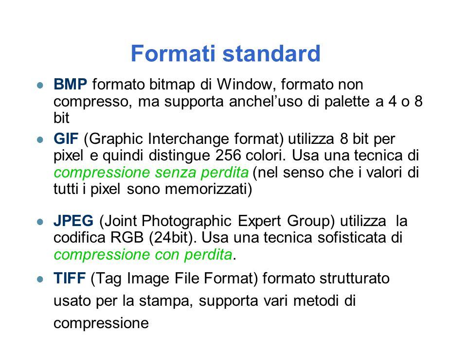 Formati standard BMP formato bitmap di Window, formato non compresso, ma supporta anchel'uso di palette a 4 o 8 bit.