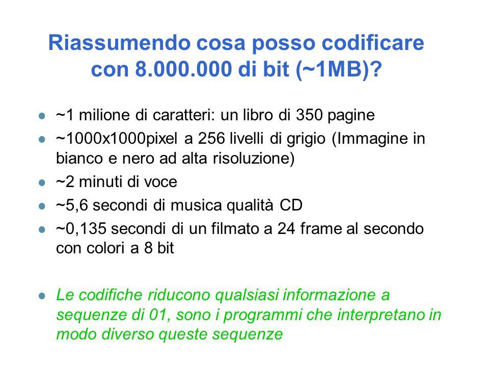 Riassumendo cosa posso codificare con 8.000.000 di bit (~1MB)
