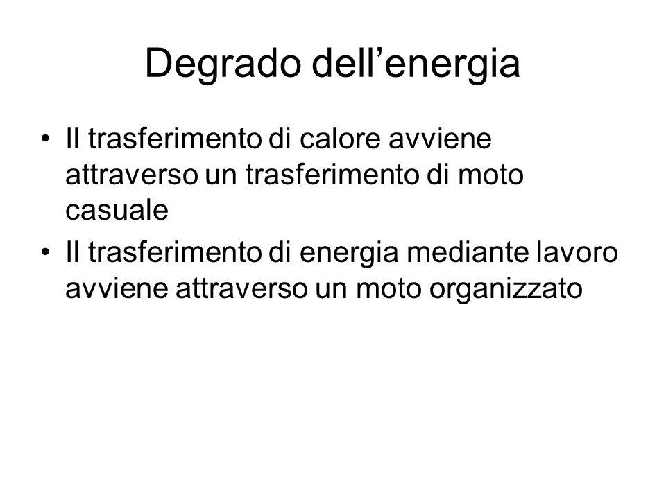 Degrado dell'energia Il trasferimento di calore avviene attraverso un trasferimento di moto casuale.