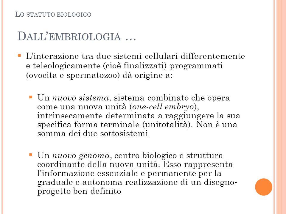 Lo statuto biologico Dall'embriologia …