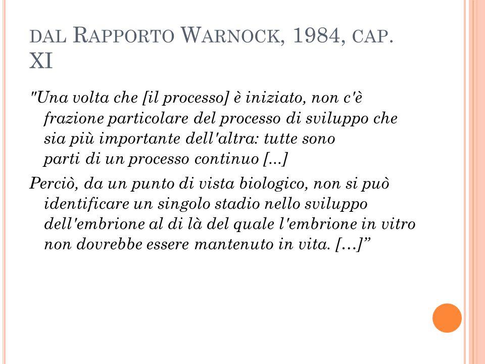 dal Rapporto Warnock, 1984, cap. XI