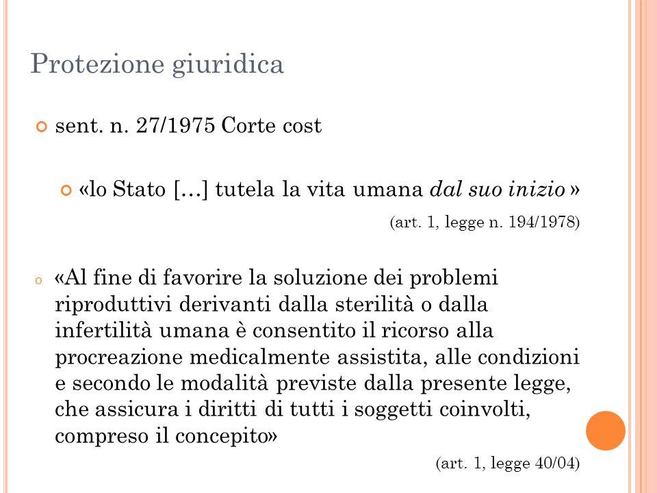 Protezione giuridica sent. n. 27/1975 Corte cost