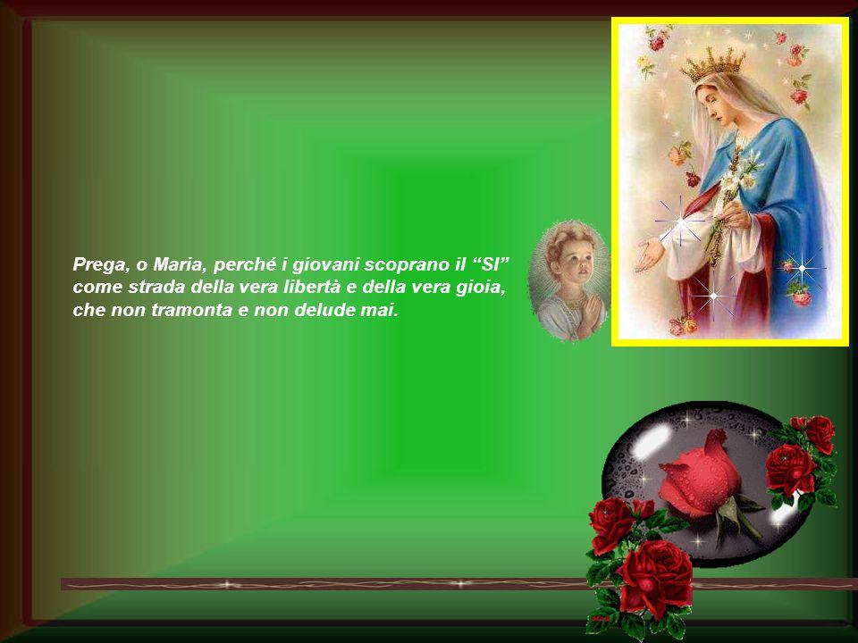 Prega, o Maria, perché i giovani scoprano il SI come strada della vera libertà e della vera gioia, che non tramonta e non delude mai.