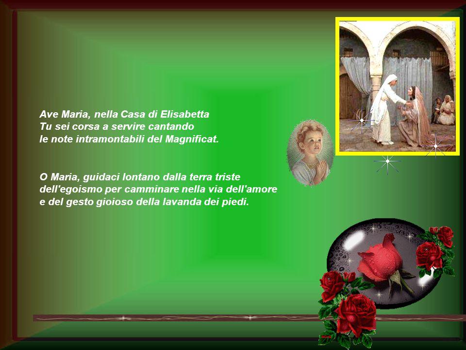Ave Maria, nella Casa di Elisabetta Tu sei corsa a servire cantando le note intramontabili del Magnificat.