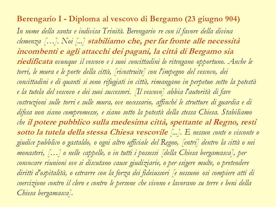 Berengario I - Diploma al vescovo di Bergamo (23 giugno 904)