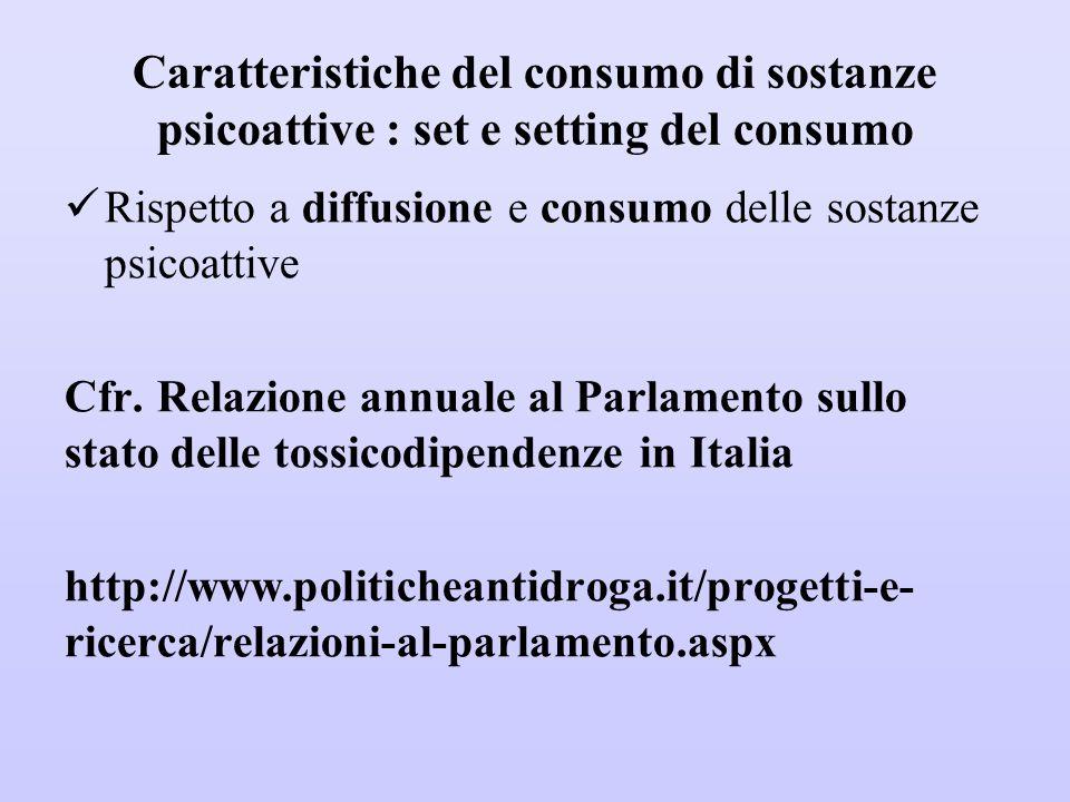 Caratteristiche del consumo di sostanze psicoattive : set e setting del consumo
