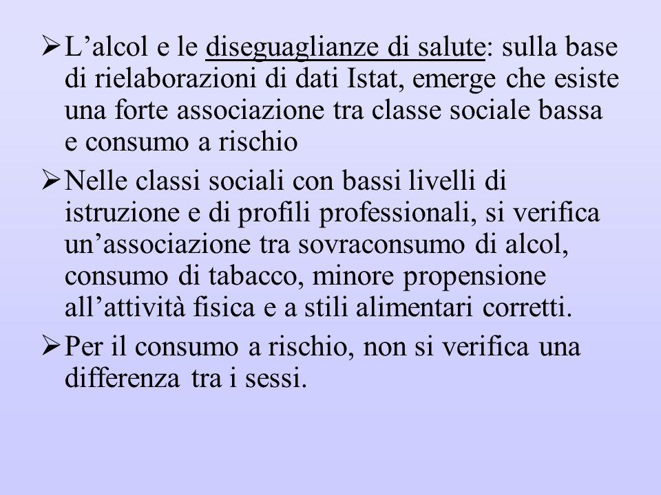 L'alcol e le diseguaglianze di salute: sulla base di rielaborazioni di dati Istat, emerge che esiste una forte associazione tra classe sociale bassa e consumo a rischio