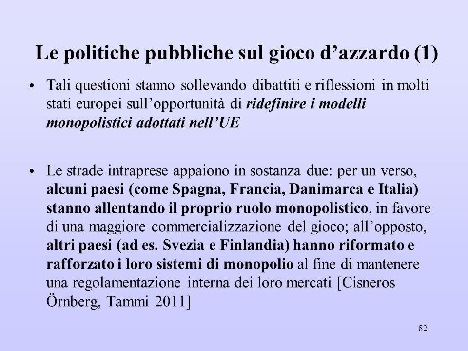 Le politiche pubbliche sul gioco d'azzardo (1)