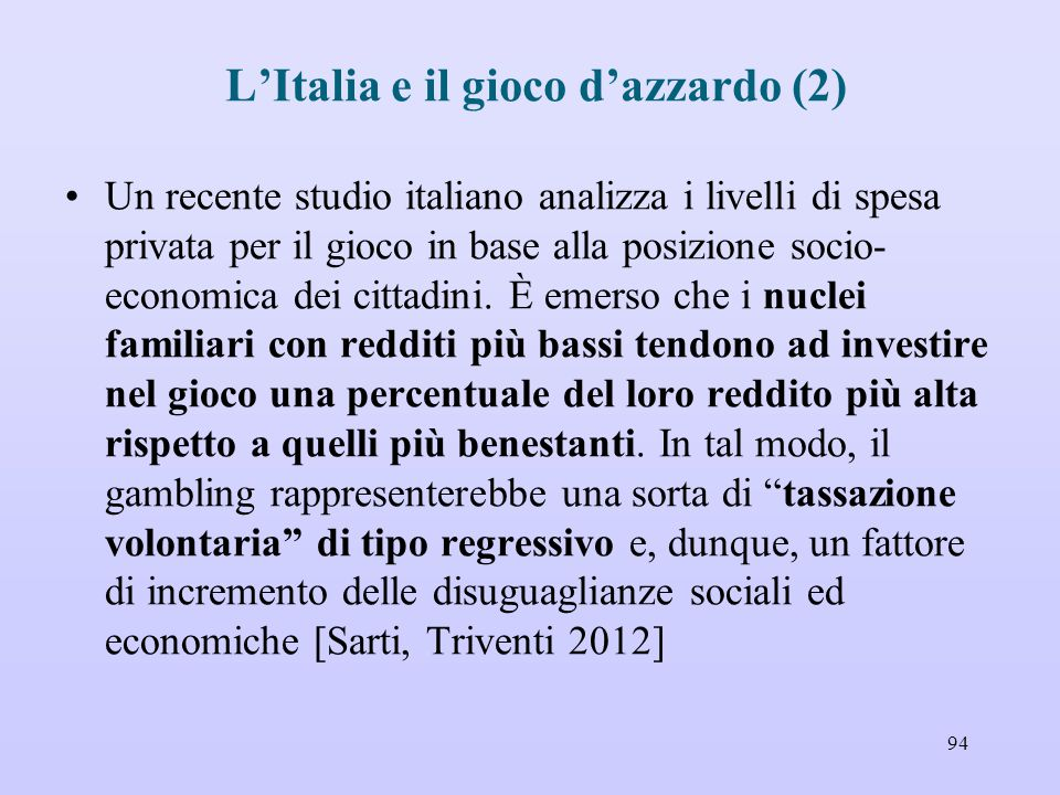 L'Italia e il gioco d'azzardo (2)
