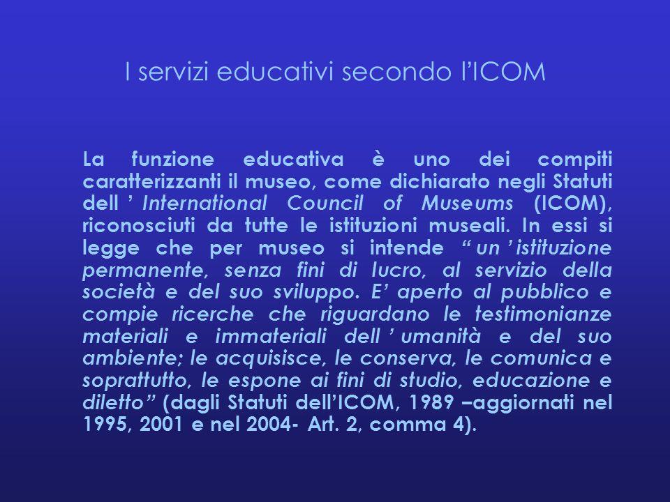 I servizi educativi secondo l'ICOM