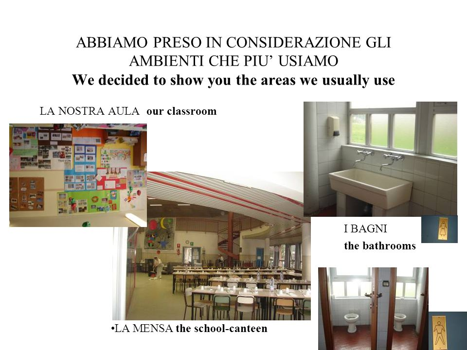 ABBIAMO PRESO IN CONSIDERAZIONE GLI AMBIENTI CHE PIU' USIAMO We decided to show you the areas we usually use