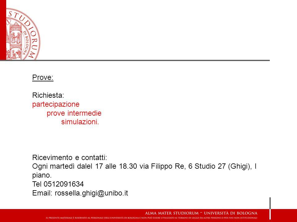 Prove: Richiesta: partecipazione. prove intermedie. simulazioni. Ricevimento e contatti: