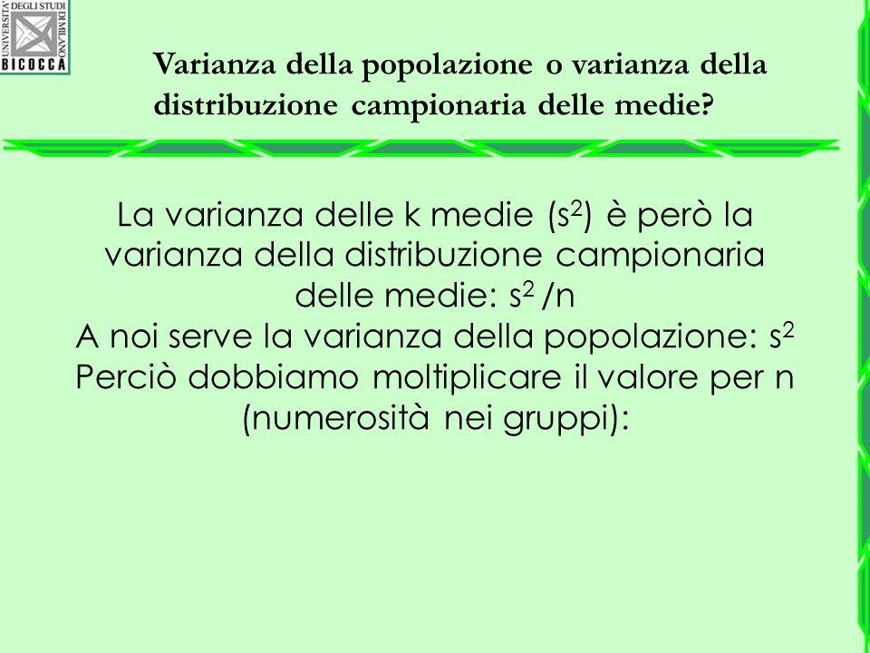 Varianza della popolazione o varianza della distribuzione campionaria delle medie