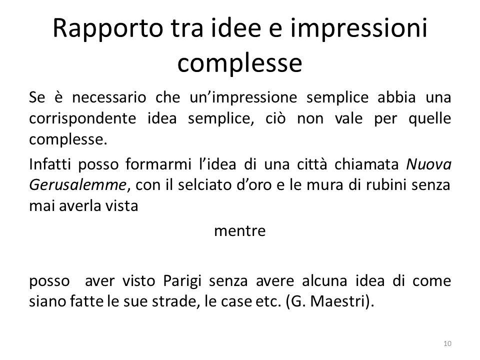 Rapporto tra idee e impressioni complesse