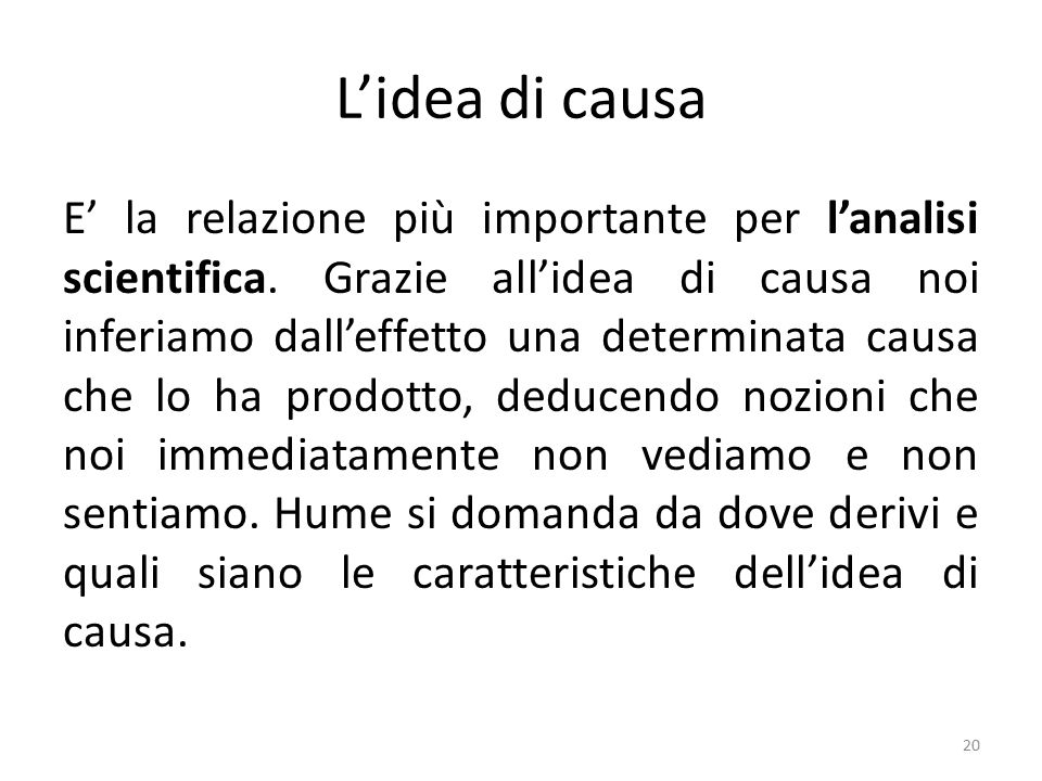 L'idea di causa