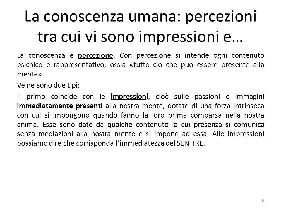 La conoscenza umana: percezioni tra cui vi sono impressioni e…