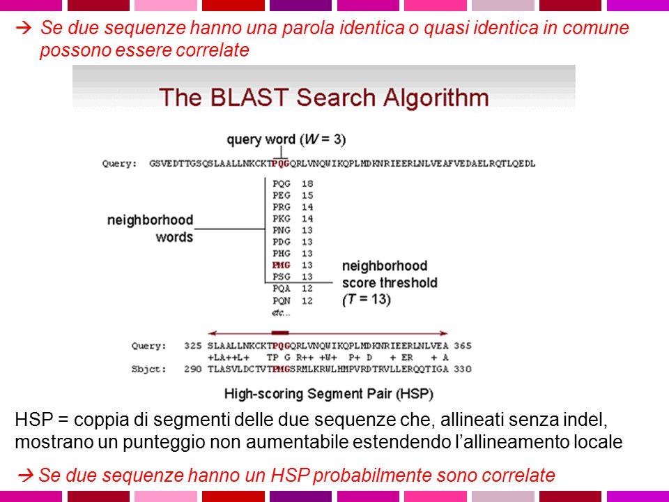 Se due sequenze hanno una parola identica o quasi identica in comune possono essere correlate