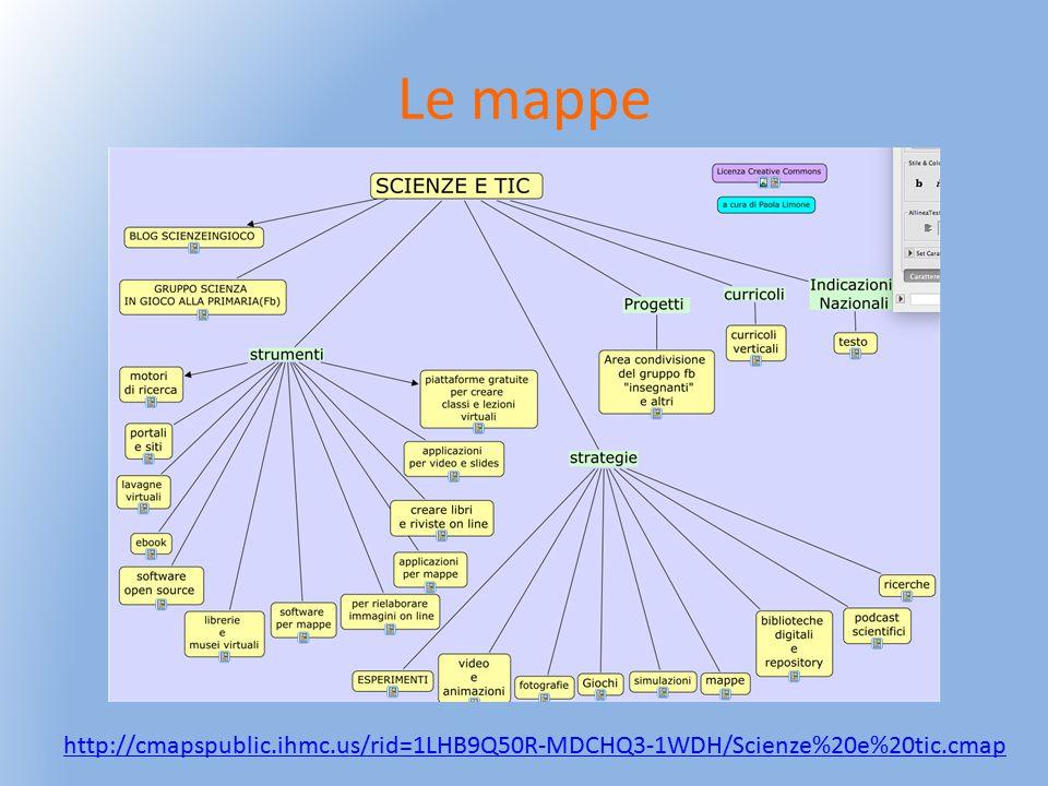 Le mappe http://cmapspublic.ihmc.us/rid=1LHB9Q50R-MDCHQ3-1WDH/Scienze%20e%20tic.cmap
