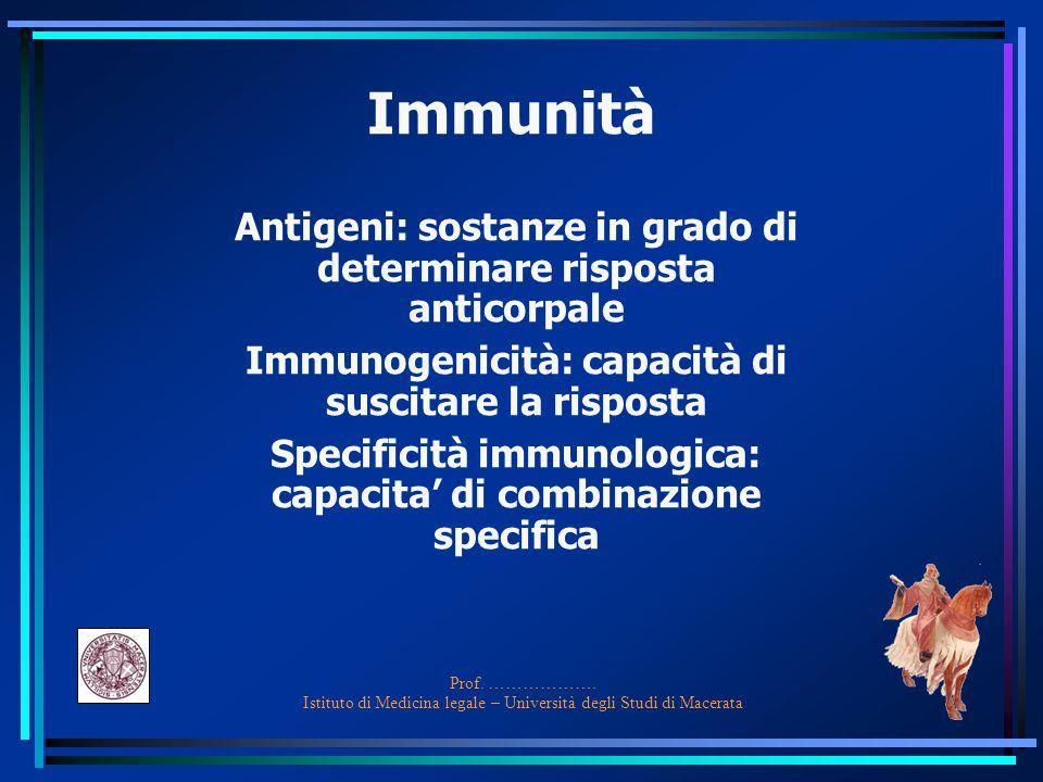 Immunità Antigeni: sostanze in grado di determinare risposta anticorpale. Immunogenicità: capacità di suscitare la risposta.